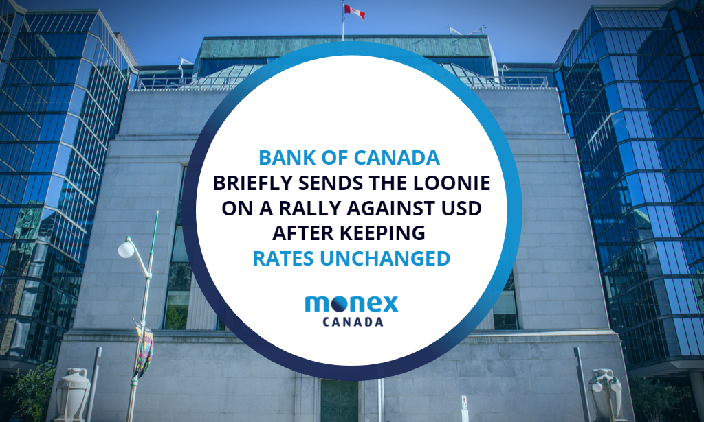 BoC briefly sends the loonie on a rally against USD after keeping rates unchanged