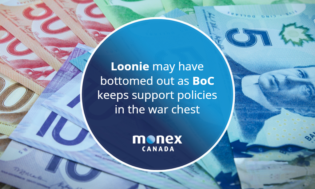 Loonie may have bottomed out as BoC keeps support policies in the war chest