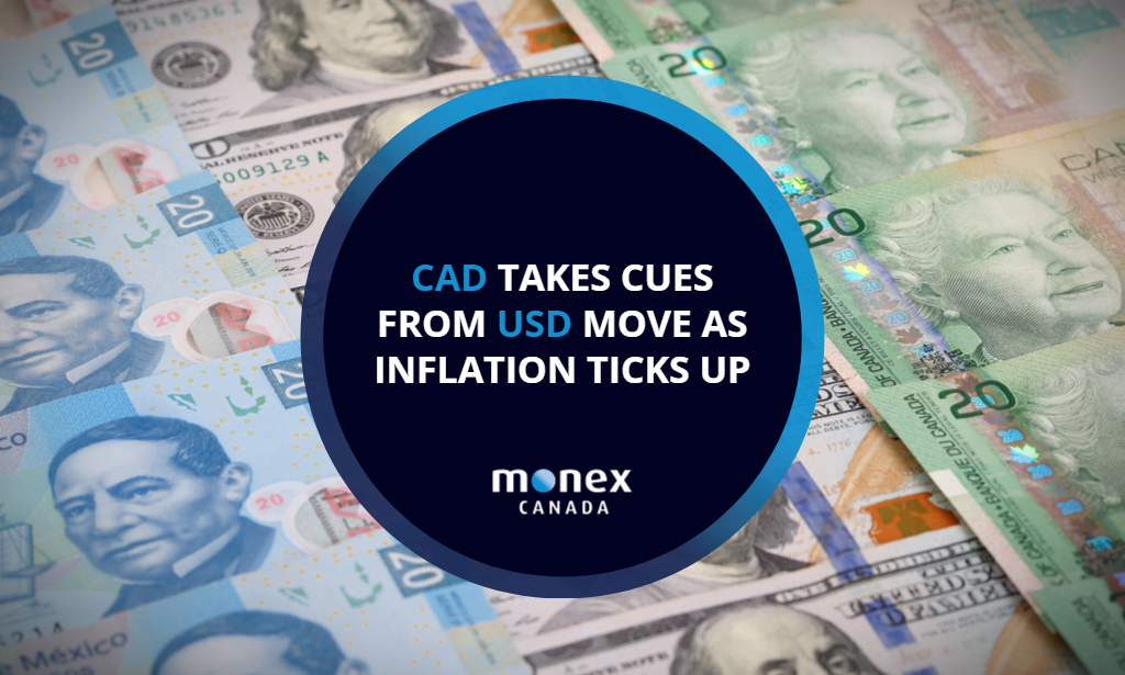 CAD takes cues from USD move as inflation ticks up