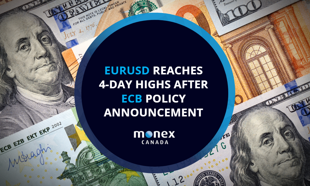 EURUSD reaches 4-day highs after ECB policy announcement