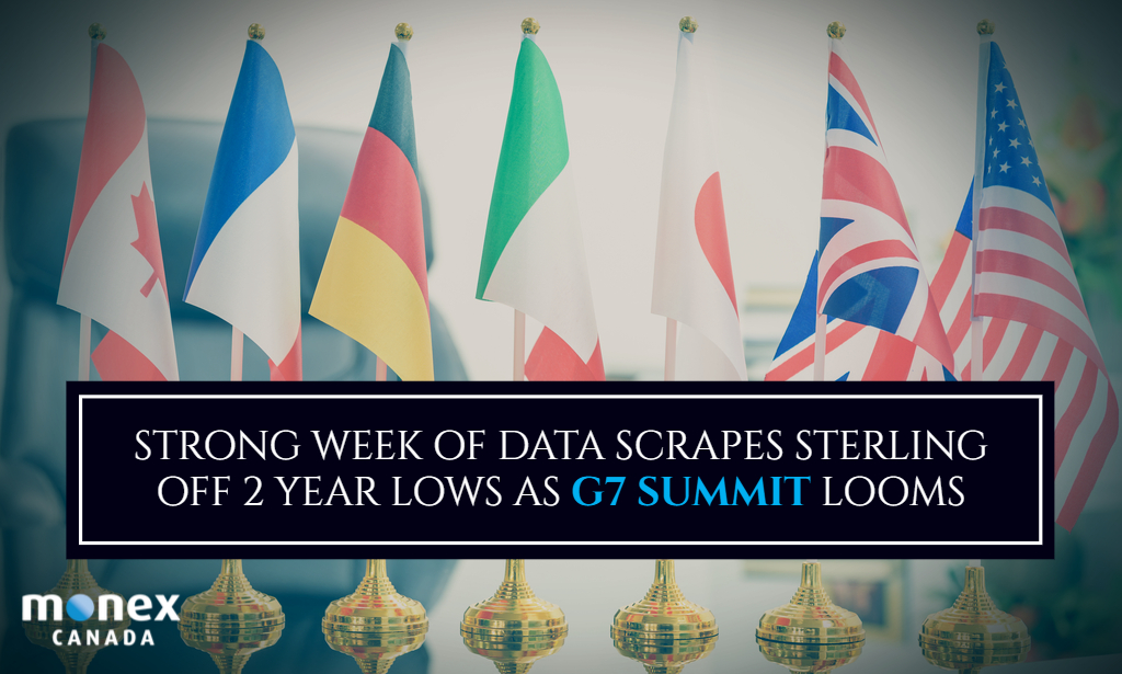 Strong week of data scrapes sterling off 2 year lows as G7 summit looms
